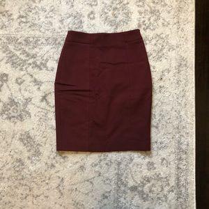 H&M burgundy pencil skirt
